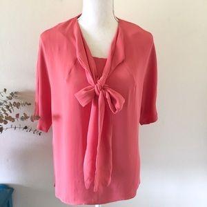 Zara Tops - Zara | Coral Tie Neck Flowy Blouse Medium